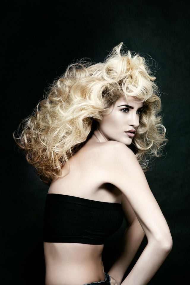Hair photogrpahy, beauty photography, portrait of super model Kelsey elliott, Cacausian model with blonde hair