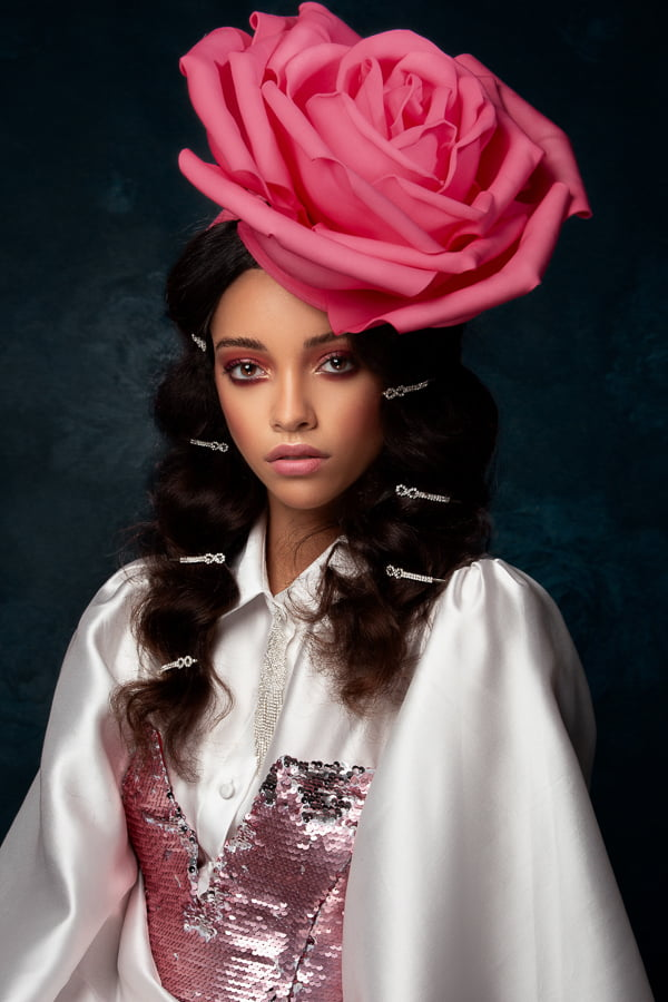 classic beauty portrait, rose headgear, fashion and beauty photographer in Philadelphia