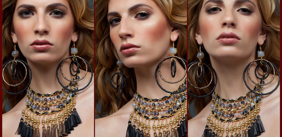 Jewelry photographer, model wearing jewelry, female model with necklace , big hoops